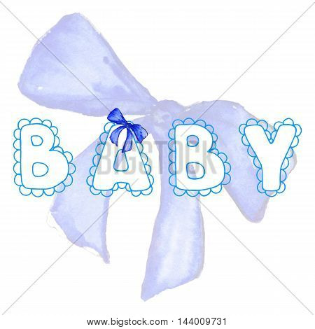 Baby lace word boy blue lettering bow ribbon tape isolated