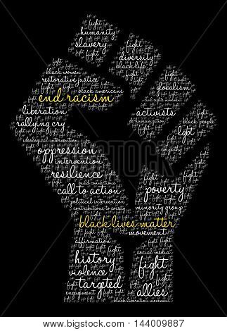 End Racism word cloud on a black background.