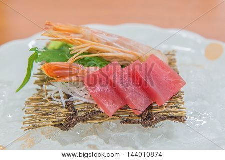 Salmon Raw Sashimi With Shrimp On Plate, Japanese Food