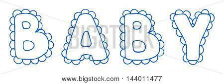 Baby lace word boy blue lettering line art vector.
