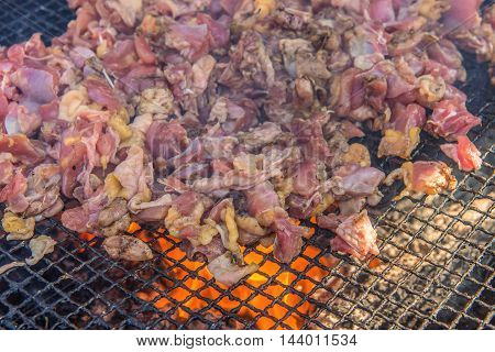 Grilled Chicken With Sauce Spicy On Barbecue Grill