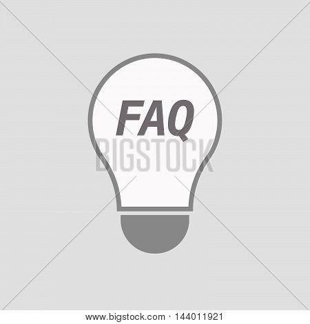 Isolated Line Art Light Bulb Icon With    The Text Faq