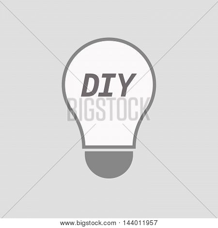 Isolated Line Art Light Bulb Icon With    The Text Diy