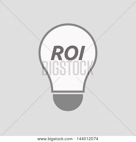 Isolated Line Art Light Bulb Icon With    The Return Of Investment Acronym Roi