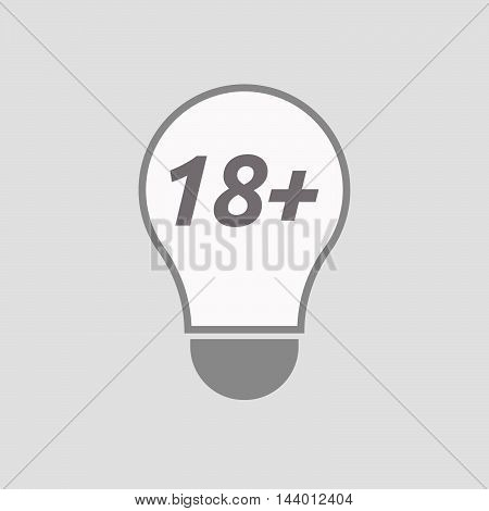 Isolated Line Art Light Bulb Icon With    The Text 18+
