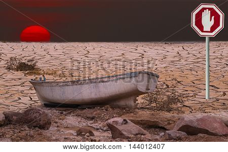 Global warming is a real threat for our civilization. Conceptual composite image symbolizing drastic changing in climate of our planet