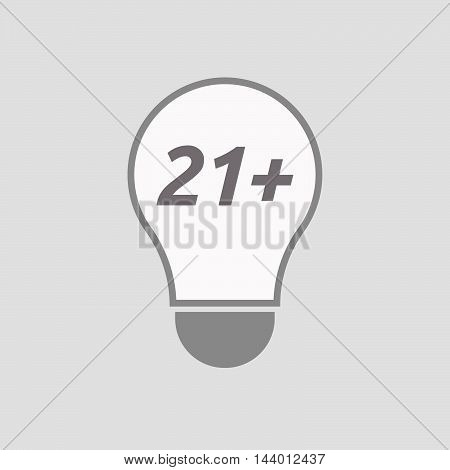 Isolated Line Art Light Bulb Icon With    The Text 21+