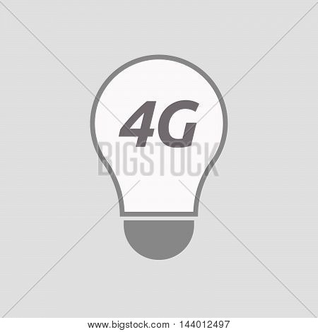 Isolated Line Art Light Bulb Icon With    The Text 4G
