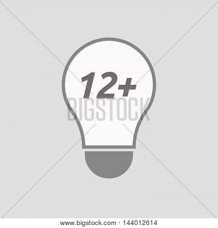 Isolated Line Art Light Bulb Icon With    The Text 12+