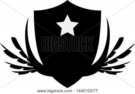 Shield silhouette icon logo vector with star and wing on white background