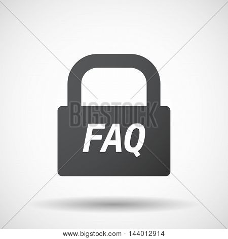 Isolated Closed Lock Pad Icon With    The Text Faq