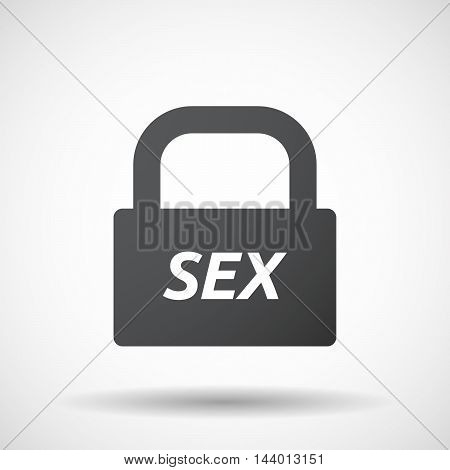 Isolated Closed Lock Pad Icon With    The Text Sex
