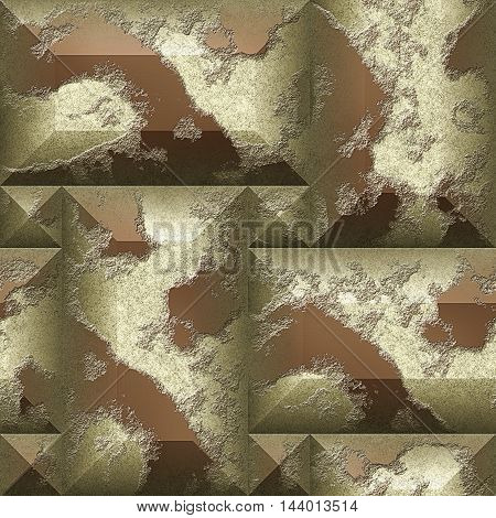 Seamless relief 3d mosaic pattern of scratched beige and brown beveled rectangles. Stone relief wall with pyramidal blocks in colors of coffee
