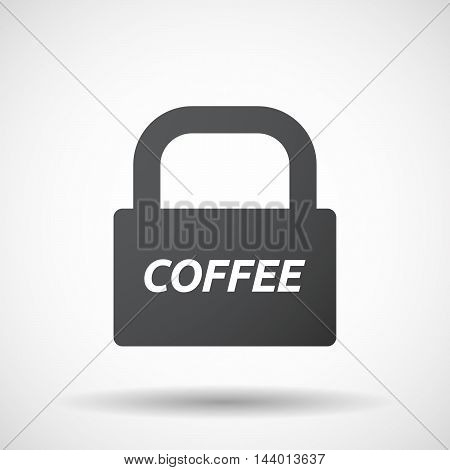 Isolated Closed Lock Pad Icon With    The Text Coffee