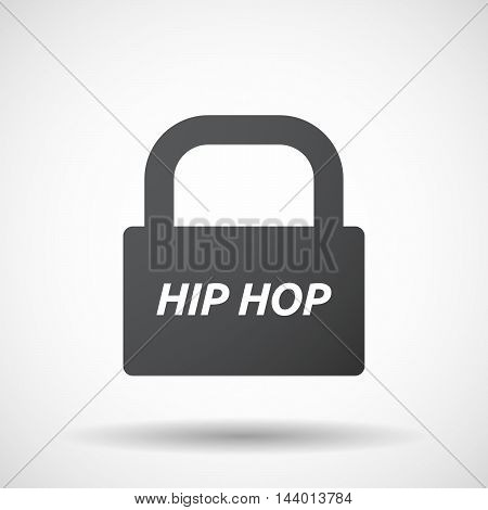 Isolated Closed Lock Pad Icon With    The Text Hip Hop