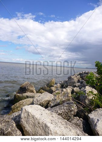 View of Lake Winnipeg Canada from the rocky shoreline