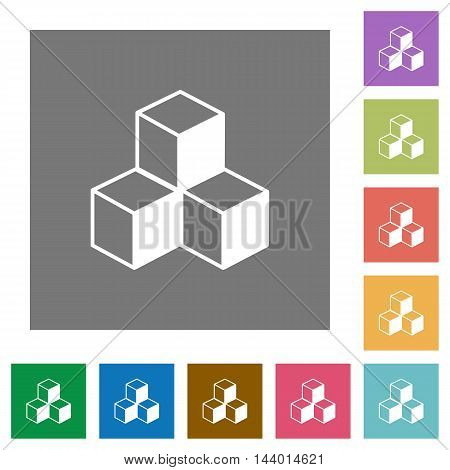 Isometric cubes flat icon set on color square background.