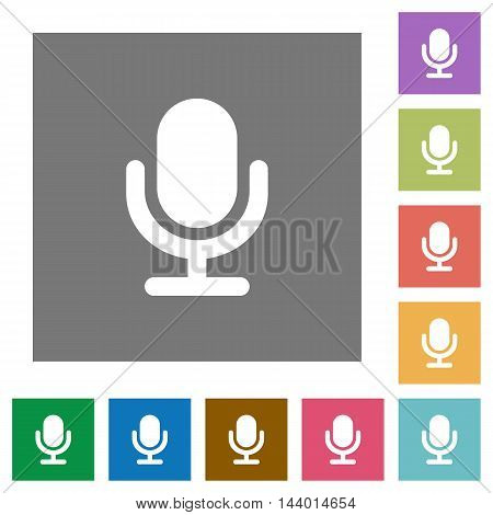 Microphone flat icon set on color square background.