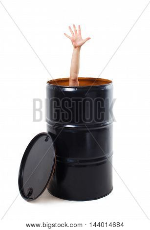man's hand poked out of the black cask. male hand showing five fingers sticking out of the black metal barrel. business concept. isolated on a white background
