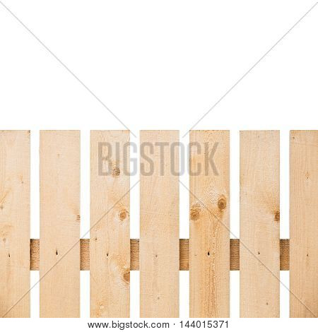New Wooden Fence Fragment Isolated On White