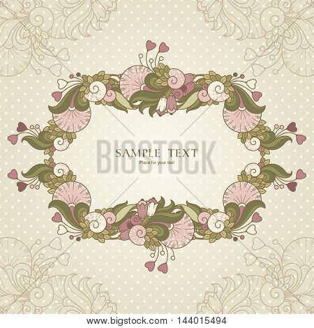 Template with hearts and abstract decorative frame with natural elements. Vector color design