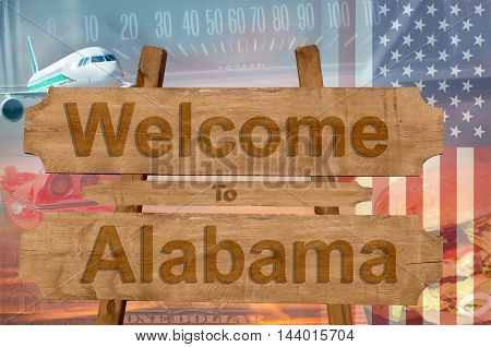 Welcome To Alabama In Usa Sign In Wood, Travell Theme