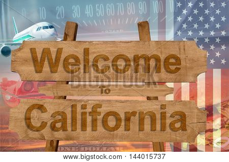 Welcome To California In Usa Sign In Wood, Travell Theme