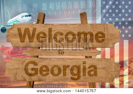 Welcome To Georgia State In Usa Sign On Wood, Travell Theme