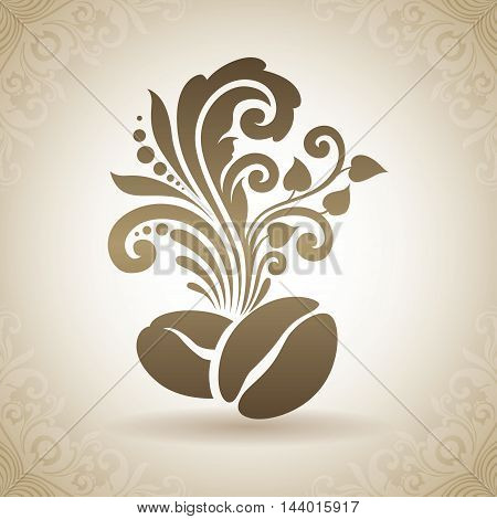 Vintage ornamental coffee beans and floral design elements. Decorative icon on a background with pattern