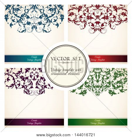 Vector set of vintage templates with ornamental color border pattern