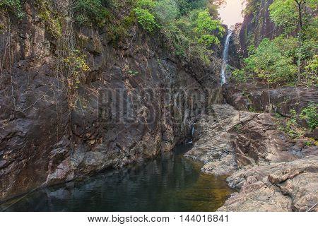Waterfall In Deep Rain Forest Jungle Thailand