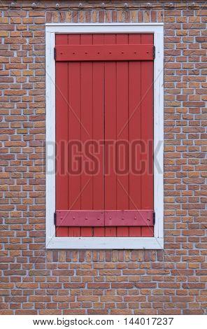 Modren Window On Red Brick Wall Background