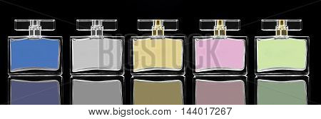 dark image of cosmetics fragrances in cristal container