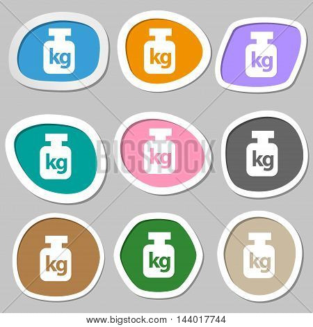 Weight Symbols. Multicolored Paper Stickers. Vector
