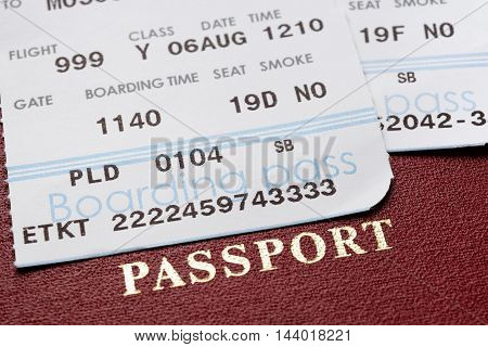 Boarding pass and passport close-up. Travel concept.