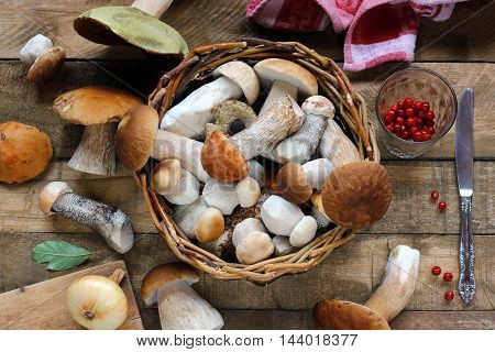 Mushrooms in a basket top view. Table-still life.