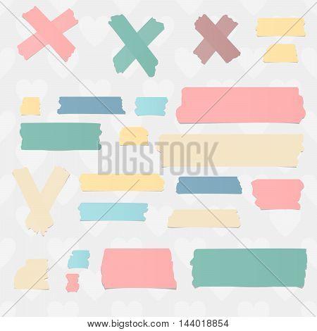 Colorful horizontal masking, sticky tape pieces and symbols on white background.
