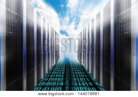 Server Racks with blue cloudy sky blur light rays