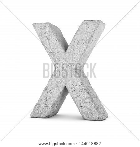 3D rendering concrete letter X isolated on white background. Signs and symbols. Alphabet. Cracked surface. Textured materials. Cement object.