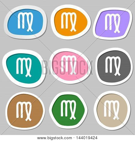 Virgo Symbols. Multicolored Paper Stickers. Vector