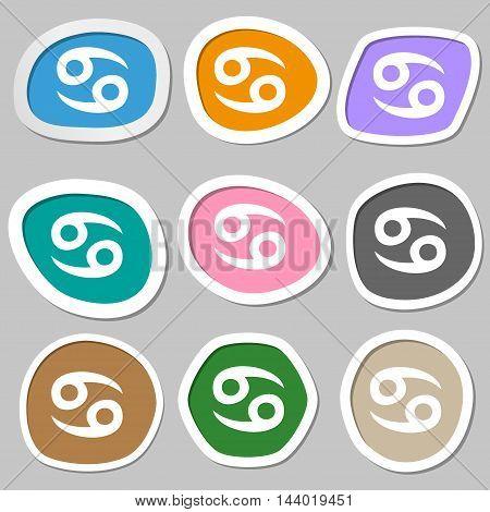 Zodiac Cancer Symbols. Multicolored Paper Stickers. Vector