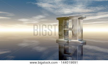 metal uppercase letter h under cloudy sky - 3d rendering