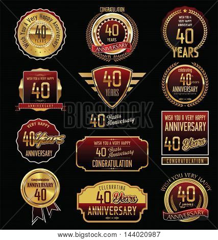 Anniversary 40 years retro vintage badges and labels vector