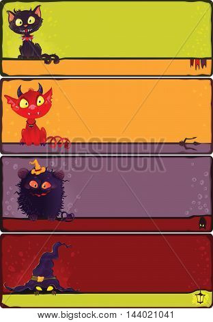 Cartoon halloween banners set. This image is an easy to edit vector illustration. Image contains gradients transparency blending modes. EPS 10 Can be scaled to any size without loss of resolution