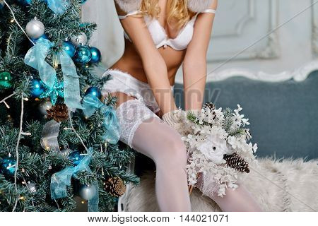 Beautiful Sexy Santa Clause In Elegant Panties, Stockings And Bra. Fashion Portrait Of Model Girl In