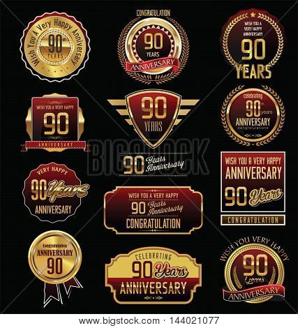 Anniversary 90 years retro vintage badges and labels vector