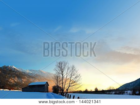 winter wonderland near eschenlohe blue sky background with clouds and copy space