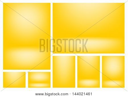 Set of clear empty studio light vector light lemon yellow backgrounds for product presentation, a4 format