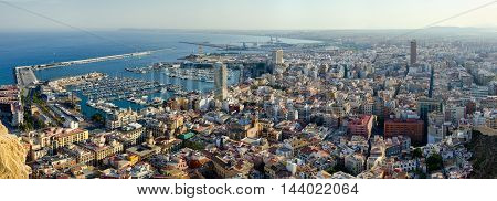 Alicante city center and harbor in sunset light, summer Spain