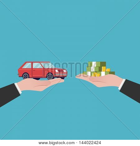 Flat illustration car sales. The transfer of money and the machine out of the hands. Red vehicle. Vector image in a cartoon style isolated on a blue background